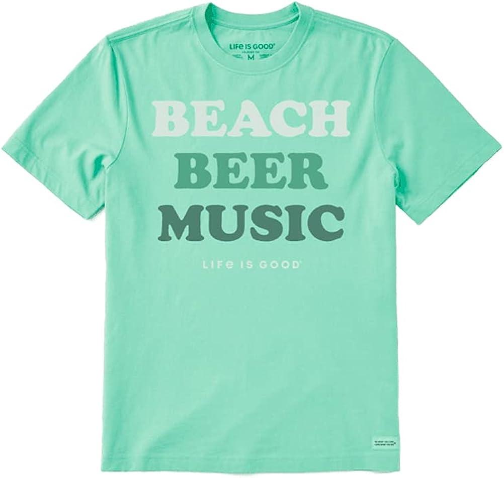 Life is Good Men's Beach Beer Music Short Sleeve Crusher-LITE Tee