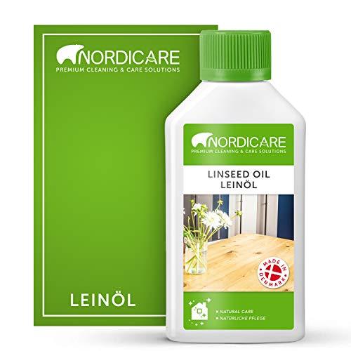 Nordicare Aceite de linaza [250 ml] para madera para protección de madera, aceite de linaza para interiores, aceite de lino cocido para muebles, aceite de lino y madera