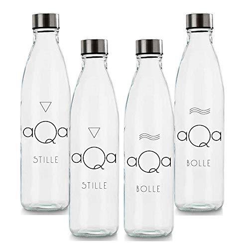 BrandPrint, Set di 4 Bottiglie in Vetro per Acqua Naturale e Frizzante Modello Ermes 1 Litro con Tappo a Vite in Acciaio Inox. Per Bevande e Succhi.