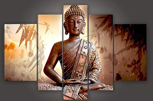 Hfvvsovs Handmade Large Canvas Modern Thailand Buddha Oil Painting Classic Wall Art Decor Pictures for Home Decoration 5 Multi Panel B - 30X40Cmx2+30X60Cmx2+30X80Cmx1(with Frame)