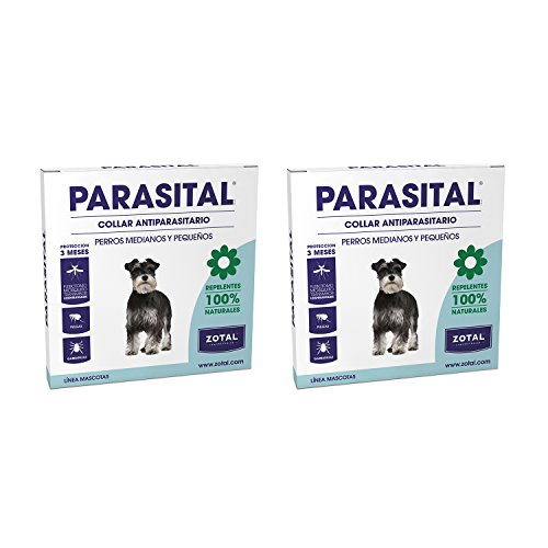 Zotal Parasital Collar Antiparasitario de 58 cm para Perros Pequeños y Medianos Pack de 2 - Repelente de Pulgas, Garrapatas y Mosquitos - Protege a tu Mascota Durante 6 Meses - 100% Natural