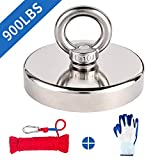 Fishing Magnet Kit, 900lbs Pulling Force Super Strong Neodymium Fishing Magnets with Rope & Gloves, Rare Earth Large Round Magnet with Eyebolt for Magnetic Fishing, River, Salvage, 3.54' Diameter