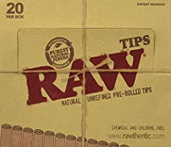 Full Box Of 20 Packs - 21 each (420 Total) Raw Pre-Rolled Natural Tips Made of All Natural, Chlorine Free Fibers - Vegan Friendly Natural Hemp and Cotton Construction - Chlorine Free and Vegan Made in one of the oldest Fourdrinier mills anywhere to e...