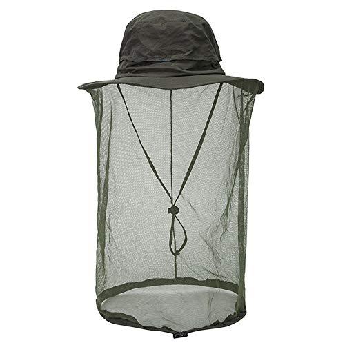 Mosquito Head Net Hat Hidden Mesh Sun Hat Men Women Outdoor Insect UV Protective Army Green