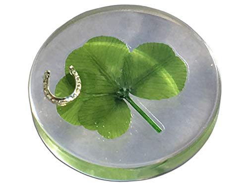 "KIN-HEBI Real Four Leaf Clover Good Luck Pocket Token, Preserved, 1.25"", Including Metal Horseshoe Object (Silver)"