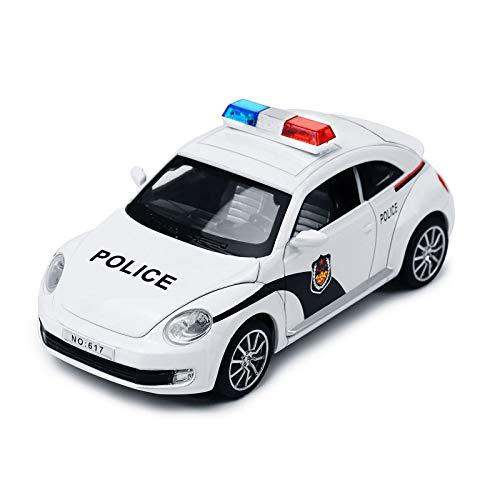 YIJIAOYUN Scala 1:32 Macchina della Polizia elettrica ad attrito Veicolo Giocattolo per Bambini con luci e Suoni Lampeggianti
