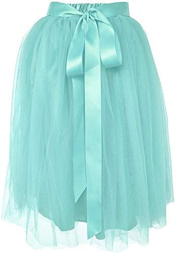 Dancina Women's Knee Length Tutu A Line Layered Tulle Skirt Regular (Size 2-18) Mint
