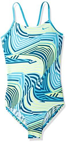 Nike Mädchen Crossback One Piece Swimsuit Einteiliger Badeanzug, Hellblauer Fury Wirbel, Mittel
