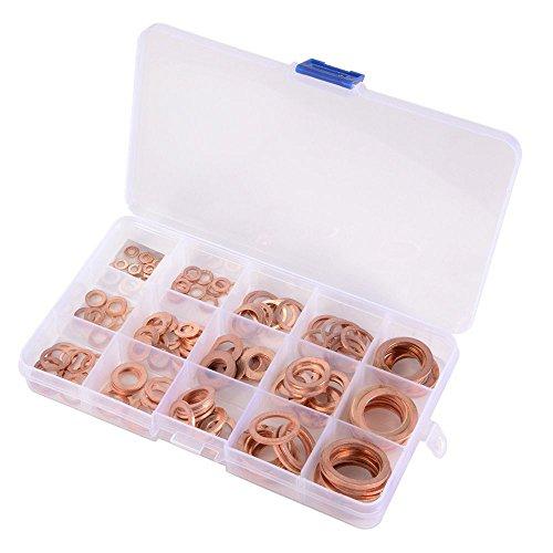 knowing 150Stücke 15 Größen Kupferringe Sortiment Dichtringe Kupferring,Kupfer Dichtungssatz, Kupfer Unterlegscheiben Dichtung, Hardware Zubehör solide Kupfer,(in der Klassifikationsbox)