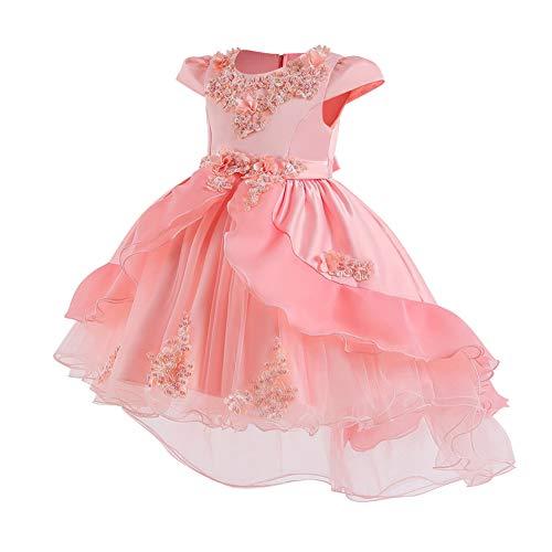 FYMNSI - Vestido de niña con flores Vokuhila para boda, dama de honor, formal, vestido de cóctel, fiesta, cumpleaños, 3-10 años 2# Rosa 6-7 Años