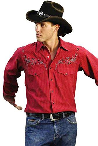 STARS & STRIPES Chemise Western Clyde - Édition Western Boutique - Avec col et pochette en velours - Pour homme - Rouge - Rouge - Small