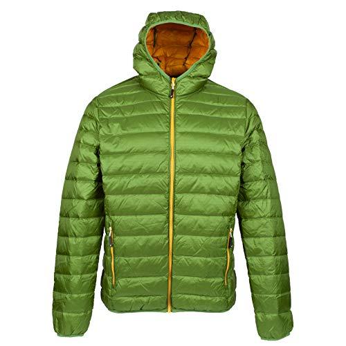 alvivo Daunenjacke Kapuze Herren Dublin Premium Winterjacke Outdoorjacke Wanderjacke Ultraleicht, warm & Winddicht (Grün, L)