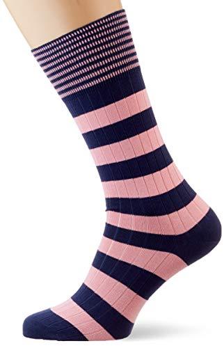 Hackett Herren INCH STRIPE Socken, Blau (5dbnavy/Pink 5db), 39/42 (Herstellergröße: SM)