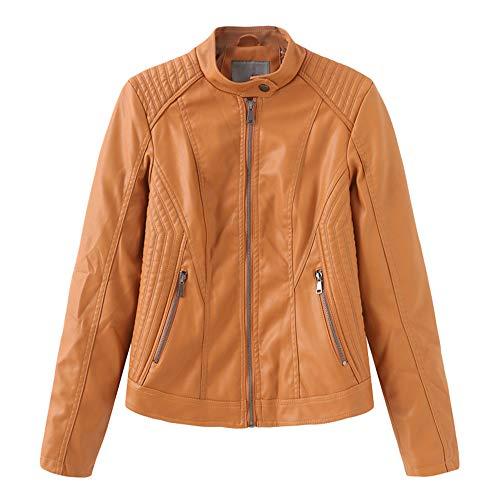 Zengbang Retro Jacket Damen PU Lederjacke Classic Coat Stehkragen Jacke Short Slim Fit Oberteile