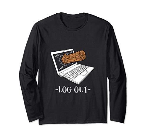 Log out Ausloggen PC Informatik Geschenk Langarmshirt