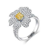 SISGEM 0.51ct Fancy Canary Diamond Wedding Set for Her, 18 ct Solid White Gold Flower Vintage Weddin...