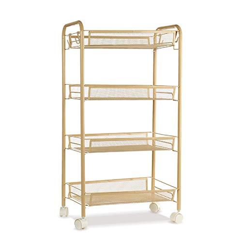 Yhjkvl Carrito de almacenamiento con ruedas de 4/5 niveles, organizador de almacenamiento para casa, oficina, cocina, baño o carrito rodante (tamaño B; color: dorado)