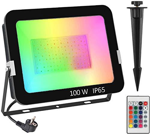 RGB LED Strahler 100W, T-SUNRISE RGB Fluter LED Flutlicht Gartenstrahler mit 16 Farben und 4 Modi Fernbedienung Farbwechsel IP65 Wasserdicht Gartenbeleuchtung Strahler für Party Außen Scheinwerfer