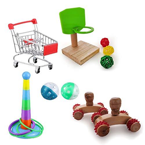 Juguete de Aves, Mini Castor Patines de la Compra Carrito de la Compra Entrenamiento Inteligencia Toys Toys of Parrot