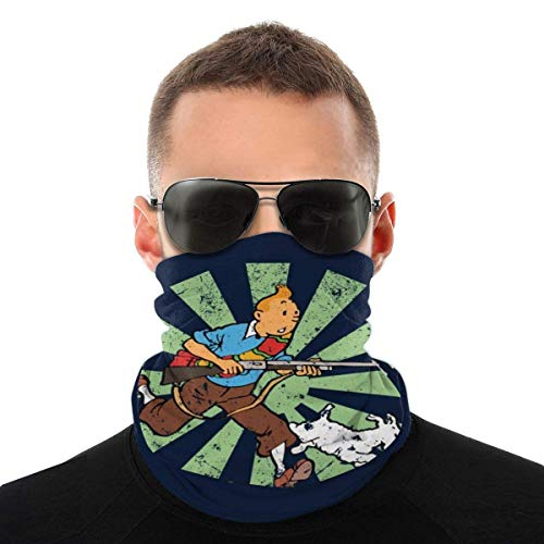 Auld-Shop Tim und Struppi Retro japanische Sorte Kopftuch Gesichtsschutz Magic Headwear Hals Gamasche Gesicht Bandana Schal