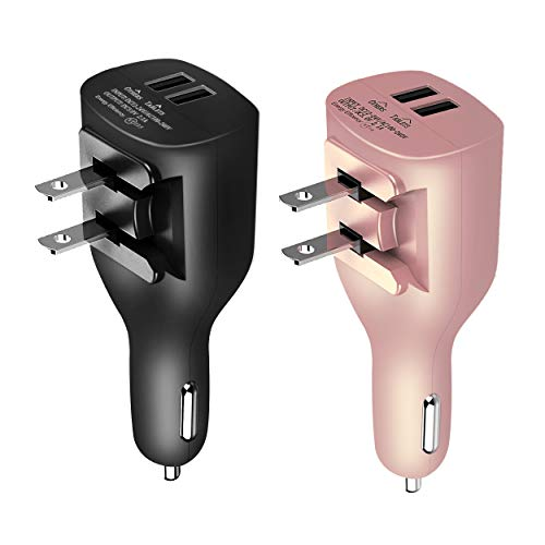 USB Car Charger,NDLBS 2-in-1 Portable Dual USB Car and Wall Charger with Foldable Plug Home for iPhone X XR XS MAX 7 8 Plus,iPad Pro Air Mini,Galaxy Note9 S9 S8 Plus,LG Google
