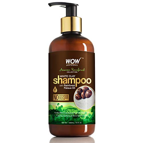 WOW Amazon Rainforest Collection - White Clay Shampoo with Rainforest Pataua Oil - No Parabens, Sulphate, Silicones and Color, 300 ml