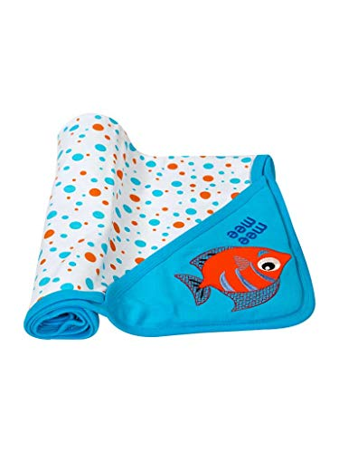 Mee Mee Double Layer Reversible Soft Baby Blanket (with Hood-Blue)