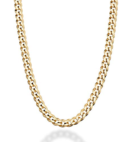 MiaBella Solid 18K Gold Over Sterling Silver Italian 5mm Diamond-Cut Cuban Link Curb Chain Necklace for Women Men, 16, 18, 20, 22, 24, 26, 30 Inch 925 Sterling Silver Made in Italy (22 Inches)
