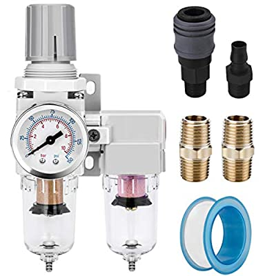 "NANPU 1/4"" NPT Air Dryer System - 5 Micron Particulate Filter, 0.5 Micron Coalescing Filter & Air Pressure Regulator, Water Trap Separator - Semi-Auto Drain,0-150 psi Gauge, Poly Bowl, Metal Bracket by NANPU"