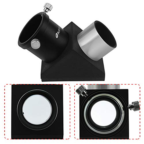 """Astromania 1.25"""" 90-Degree Diagonal Mirror - More Comfortable Viewing Orientation as You Observe from Above, Filter Thread for Any 1.25"""" Filter and Accepts Standard 1.25"""" eyepieces"""