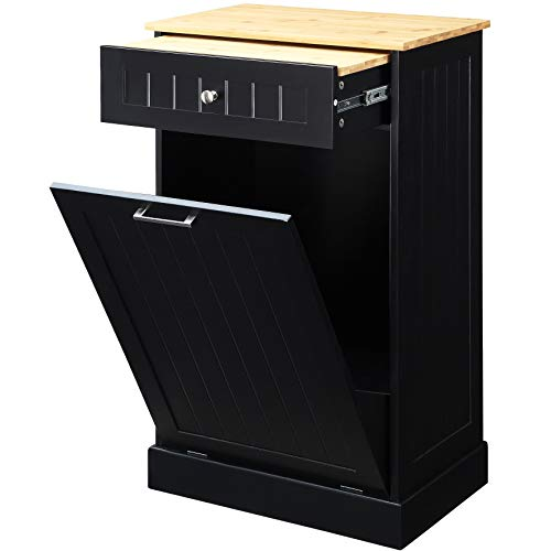 Northwood Calliger Tilt Out Free Standing Kitchen Trash or Recycling Cabinet with Drawer, Removable Bamboo Cutting Board (Black)