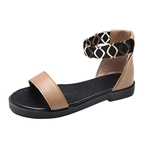 SANFASHION Damen Sommer Mode Elastic Band Flache Sandalen Beiläufige Outdoor Open Toe Schuhe Arbeitsschuhe