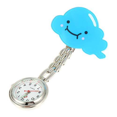 UKCOCO Relojes de Enfermera Azules para Mujeres Y Niñas Broche de Solapa Higiénico Reloj Fob Reloj de Bolsillo Analógico de Cuarzo Colgante Relojes Médicos de Bolsillo con Solapa