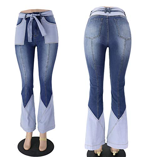 GJQDDP Women's straight wide leg jeans for, flared stretch jeans work office outdoors holiday trousers,Sombre,L