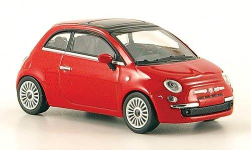 Fiat 500, rot, 2007, Modellauto, Fertigmodell, Minichamps 1:64