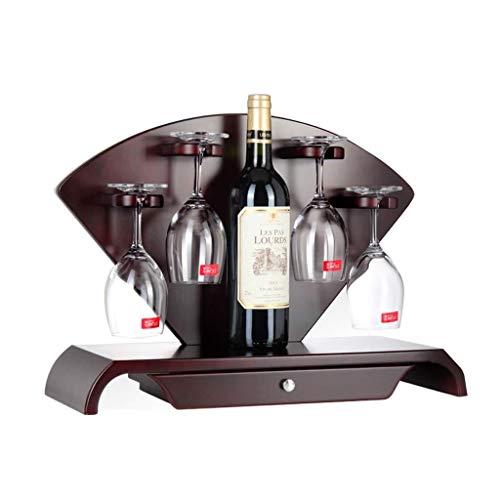 Estantería de vino Estante del vino, decoraciones de caoba y sector creativo puede levantar pequeña copa de vino jarra for la decoración del restaurante bar en casa, 48 * 18 * 37cm, 1 botella de vino