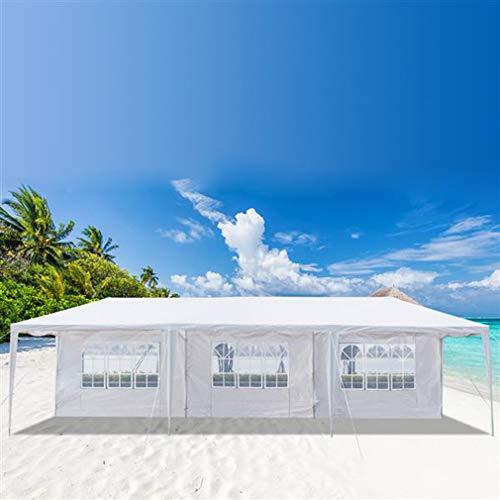 Pavillon Partyzelt, UV-Schutz Faltpavillon, Wasserdicht Gartenpavillon mit 4 Seitenteilen für Party Festival Messestände, Weiß (3x9 m mit 8 Seitenteilen)