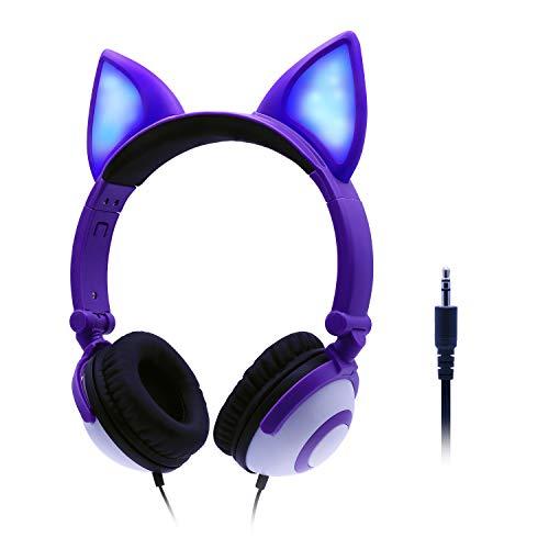 ONTA Kopfhörer Kinder mit niedlichen LED Leuchtenden Katzenohren 85dB Volume Lautstärke begrenzt Faltbar Verstellbare On Ear Kinder Kopfhörer für Jungen und Mädchen (Lila)
