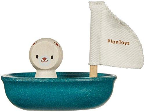 PlanToys- Sailing Boat-Polar Bear, PT5712, Wood