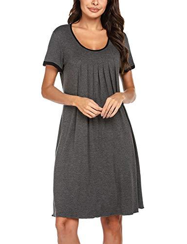 Ekouaer Nightgown Womens Loose Fit Sleepwear Short Loungewear Dress Dark Grey XL