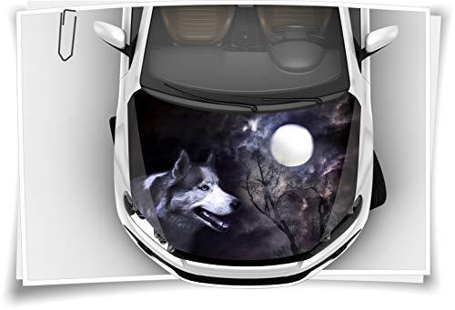 Medianlux Wolf Mond Nacht Hund Motorhaube Auto-Aufkleber Steinschlag-Schutz-Folie Airbrush Tuning Car-Wrapping Luftkanalfolie Digitaldruck Folierung