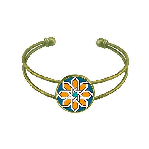 DIYthinker Blume Marokko Stil Abstrakt Geometrie Armband Armreif Retro Offene Manschette Schmuck