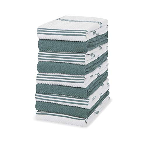 Sticky Toffee - Toallas de cocina (100% algodón, 9 unidades, 40,6 x 71 cm), color azul y aguamarina