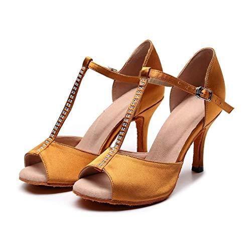 Zapatos de baile de salón de diamantes de imitación para niñas, zapatos de baile de gamuza antideslizantes, salón de baile para bodas, zapatos de baile de salsa latina con purpurina para damas