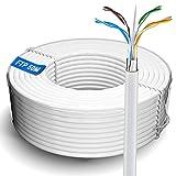 Cable de red Ethernet de 50m | FTP 23 AWG blindado Gigabit antiatascos cable de Internet para exteriores resistente a la intemperie | Cat 6, núcleo de cobre, RJ45 | Color blanco (50 metros)