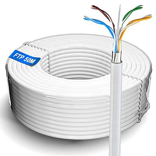 Cable de red Ethernet de 50m   FTP 23 AWG blindado Gigabit antiatascos cable de Internet para exteriores resistente a la intemperie   Cat 6, cca, RJ45   Color blanco (50 metros)