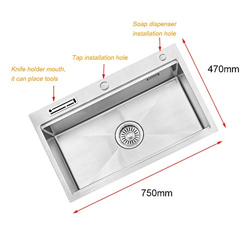Commercial 75cm x 47cm Single Bowl Stainless Steel Kitchen Sink with Strainer Pipe Kit, Sink Waste, Drain Basket, Knife…