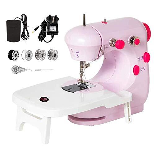 Máquina de coser, máquina de coser eléctrica multifuncional portátil, máquina de coser con mesa de extensión, luz nocturna, ajustable de 2 velocidades para coser en casa, principiantes, niños