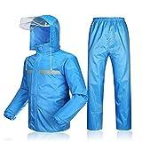 Rainsuit- Mens/Womens Waterproof Set Mens Waterproof Rain Coat Jacket Coat Trousers Bottoms Set Suit Work Camping Fishing (Color : Blue B, Size : S)