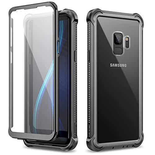 Dexnor Funda para Samsung Galaxy S9, Carcasa con Parachoques de Silicona de 360 Grados, [A Prueba de Golpes] [Ligero] Panel Posterior Transparente, Protector de Pantalla Incorporado - Negro